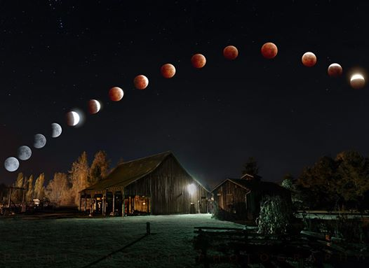 Lunar Eclipse over the Foster Barn